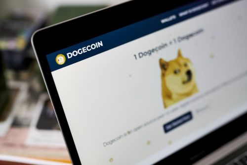 """The Dogecoin website on a laptop computer arranged in the Brooklyn borough of New York, U.S., on Friday, May 7, 2021. Dogecoin, a cryptocurrency conceived as a joke but now the world's fifth-most valuable, plunged from an all-time high after its most famous cheerleader, Elon Musk, jokingly called it """"a hustle"""" on late-night TV. Photographer: Gabby Jones/Bloomberg"""